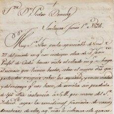 Cartas comerciales: CARTA COMERCIAL AÑO 1824 SANLUCAR DE BARRAMEDA - SIN SOBRE. Lote 206278153