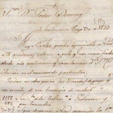 Cartas comerciales: CARTA COMERCIAL AÑO 1823 SANLUCAR DE BARRAMEDA - SIN SOBRE. Lote 206278812