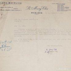 Cartas comerciales: CARTA COMERCIAL. R. MERY CLÓS. LOZA- MAYÓLICA. MANISES. VALENCIA. ESPAÑA 1949. Lote 206289412