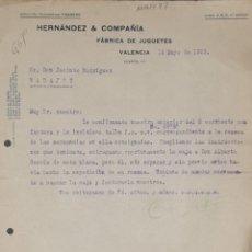 Cartas comerciales: CARTA COMERCIAL. HERNÁNDEZ & COMPAÑÍA. FÁBRICA DE JUGUETES. VALENCIA. ESPAÑA 1923. Lote 206289913