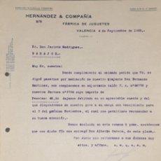 Cartas comerciales: CARTA COMERCIAL. HERNÁNDEZ & COMPAÑÍA. FÁBRICA DE JUGUETES. VALENCIA. ESPAÑA 1923. Lote 206289957