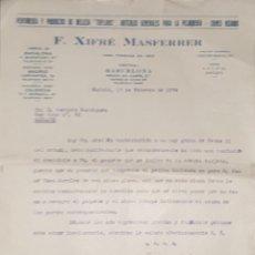 Cartas comerciales: CARTA COMERCIAL. F. XIFRÉ MASFERRER. PERFUMERÍA Y PRODUCTOS DE BELLEZA. MADRID. ESPAÑA 1934. Lote 206290041