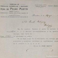 Cartas comerciales: CARTA COMERCIAL. HIJOS DE PEDRO MARTÍN. FÁBRICAS DE PARAGUAS, SOMBRILLAS Y BASTONES. BARCELONA. 1923. Lote 206290101