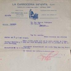 Cartas comerciales: CARTA COMERCIAL. LA CARROCERÍA INFANTIL S.A. FÁBRICA DE COCHES PARA NIÑOS. GUIPÚZCOA. ESPAÑA 1934. Lote 206290190