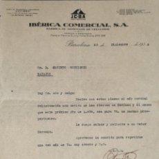 Cartas comerciales: CARTA COMERCIAL. IBÉRICA COMERCIAL S.A. FÁBRICA DE ARTÍCULOS DE CELULOIDE. BARCELONA. ESPAÑA 1935. Lote 206290300