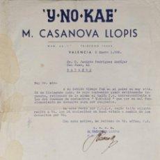 Cartas comerciales: CARTA COMERCIAL. M. CASANOVA LLOPIS. Y NO KAE. VALENCIA. ESPAÑA 1936. Lote 206290353