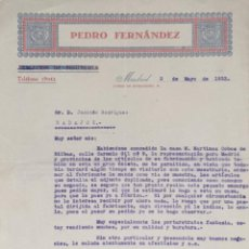 Cartas comerciales: CARTA COMERCIAL. PEDRO FERNÁNDEZ. MADRID. ESPAÑA 1933. Lote 206290411