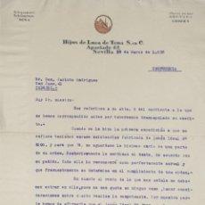 Cartas comerciales: CARTA COMERCIAL. HIJOS DE LUCA DE TENA S.ENC. SEVILLA. ESPAÑA 1835. Lote 206290505