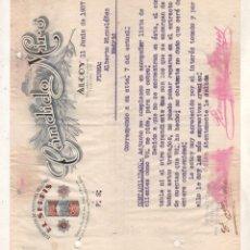 Cartas comerciales: FACTURA DE ALCOY ALICANTE DE ACEITUNAS RELLENAS EL SERPIS DE CANDIDO MIRO 1937 GUERRA CIVIL.. Lote 207015886
