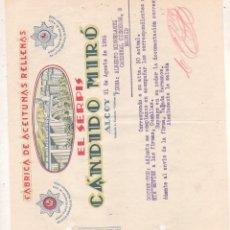 Cartas comerciales: FACTURA DE ALCOY ALICANTE DE ACEITUNAS RELLENAS EL SERPIS DE CANDIDO MIRO 1935. Lote 207016173
