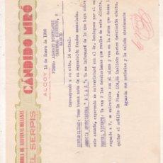 Cartas comerciales: FACTURA DE ALCOY ALICANTE DE ACEITUNAS RELLENAS EL SERPIS DE CANDIDO MIRO 1936. Lote 207016447