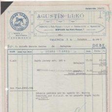 Cartas comerciales: ANUNCIO DE GIRO. AGUSTÍN LLEÓ. CASA LLEÓ. VALENCIA. 1935 SEDAS TIGRES. Lote 207120101