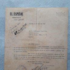 Cartas comerciales: CARTA EL ESPAÑOL SEMANARIO DE POLÍTICA Y ESPÍRITU, MADRID. 11 DE MAYO DE 1945.. Lote 207172602