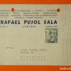 Cartas comerciales: TARGETA POSTAL COMERCIAL - RAFAEL PUJOL SALA - LERIDA, LLEIDA - AÑO 1954...L1375. Lote 208469155