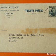 Cartas comerciales: TARGETA POSTAL COMERCIAL - EMILIO MUGICA - VERGARA (GUIPÚZCUA) - AÑO 1936 ...L1403. Lote 208666811