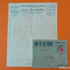 Cartas comerciales: CARTA CON SOBRE - FABRICA DE AGUARDIENTE Y LICORES JOSÉ BORDALBA - LLEIDA, AÑO 1926... L1463. Lote 209648685