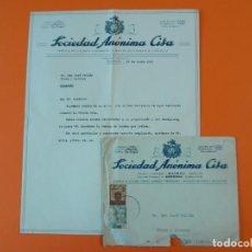 """Cartas comerciales: CARTA CON SOBRE - FABRICA DE LICORES, SOCIEDAD ANÓNIMA """"CISA"""", MASNOU (BARCELONA), AÑO 1945... L1466. Lote 209651207"""