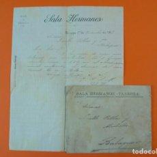 Cartas comerciales: CARTA CON SOBRE - VINOS Y ESPÍRITUS SALA HERMANOS - TÁRREGA (LLEIDA), AÑO 1897...L1468. Lote 209652476
