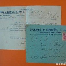 Cartas comerciales: CARTA CON SOBRE, VINOS Y ALCOHOLES JAUMÁ Y BANÚS (SUCESORES DE PABLO JAUMÁ), REUS, AÑO 1934...L1475. Lote 209915940