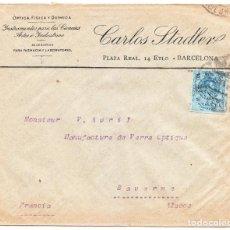 Cartas comerciales: SOBRE COMERCIAL CARLOS STADLER BARCELONA A SAVERNE FRANCIA SIN LLEGADA. Lote 209954228