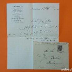 Cartas comerciales: CARTA CON SOBRE, ALCOHOLES Y VINOS JUAN MUSOLAS Y Cª, SAN MARTIN DE PROVENSALS, BCN, AÑO 1898..L1479. Lote 209990325