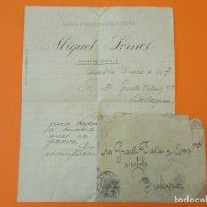 Cartas comerciais: CARTA CON SOBRE, FABRICA DE AGUARDIENTES Y LICORES MIGUEL SERRA, LÉRIDA, AÑO 1897..L1480. Lote 209991446