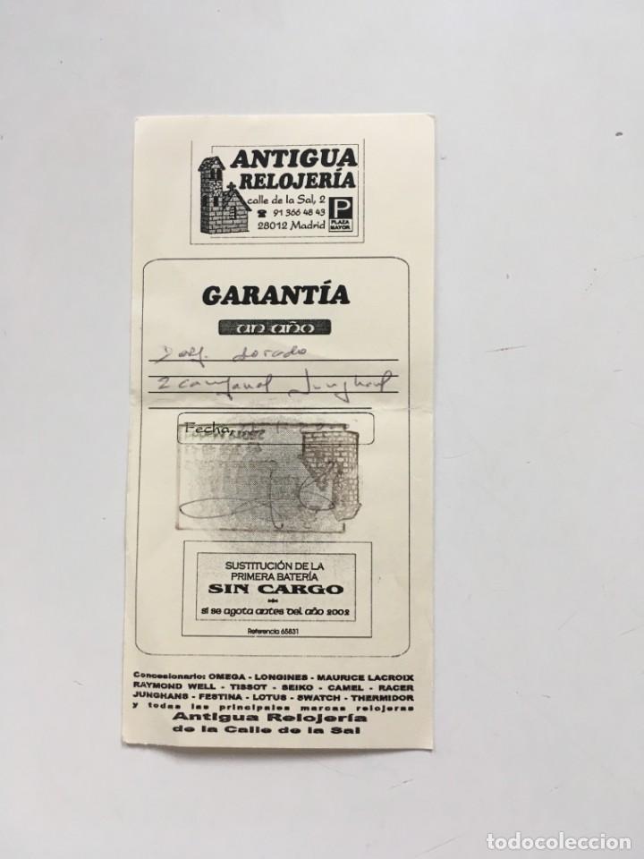 RESGUARDO GARANTÍA ANTIGUA RELOJERIA DE LA CALLE DE LA SAL, MADRID. AÑO 2000 (Coleccionismo - Documentos - Cartas Comerciales)