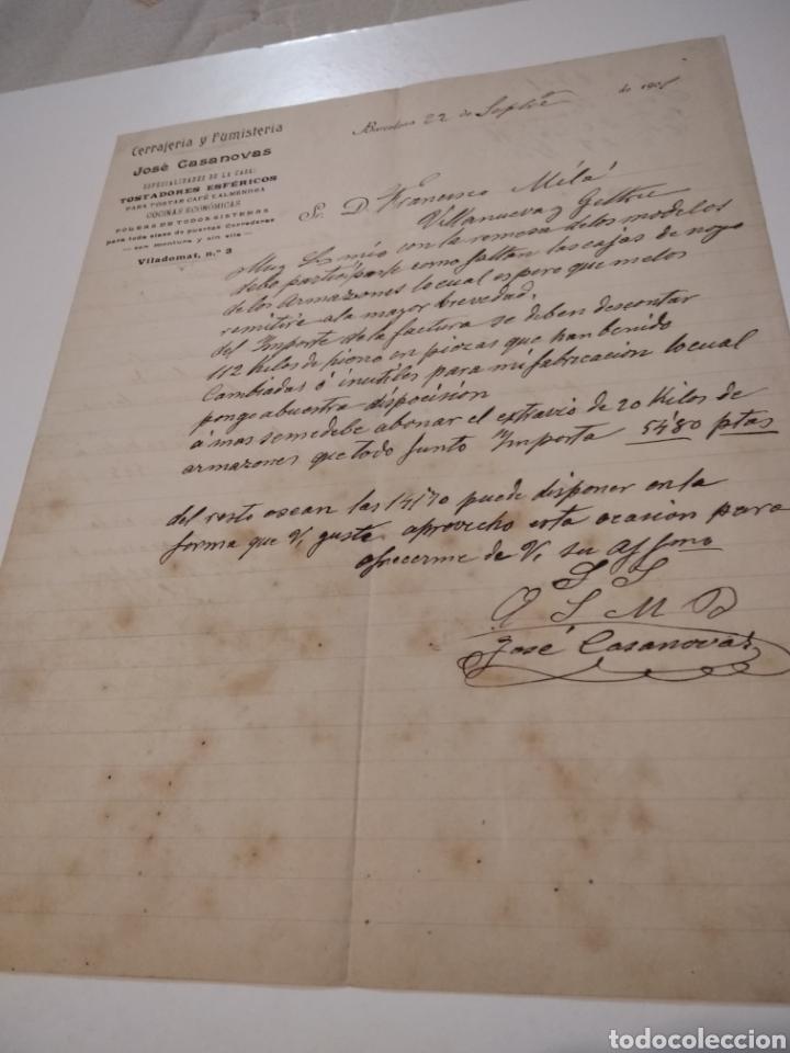 CARTA COMERCIALES CERRAJERÍA Y FUMISTERIA JOSÉ CASANOVAS BARCELONA 1901 (Coleccionismo - Documentos - Cartas Comerciales)