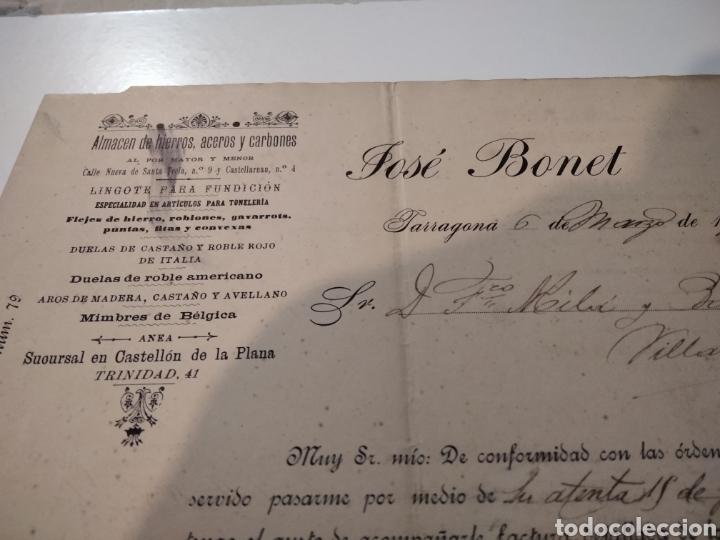 Cartas comerciales: Almacén de hierros Aceros y carbones factura antigua 1901 José Bonet - Foto 2 - 210351148