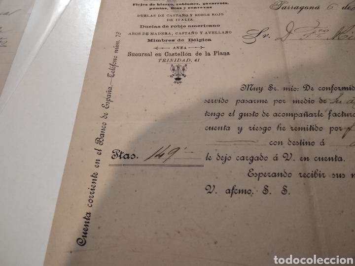 Cartas comerciales: Almacén de hierros Aceros y carbones factura antigua 1901 José Bonet - Foto 3 - 210351148