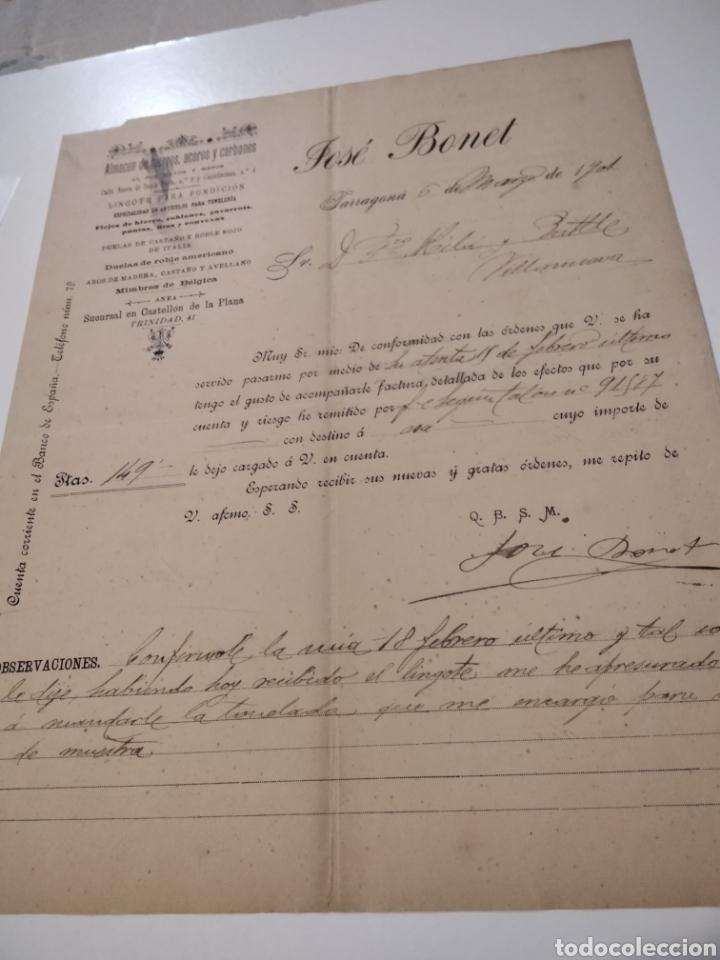 ALMACÉN DE HIERROS ACEROS Y CARBONES FACTURA ANTIGUA 1901 JOSÉ BONET (Coleccionismo - Documentos - Cartas Comerciales)