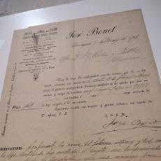 Cartas comerciales: ALMACÉN DE HIERROS ACEROS Y CARBONES FACTURA ANTIGUA 1901 JOSÉ BONET. Lote 210351148
