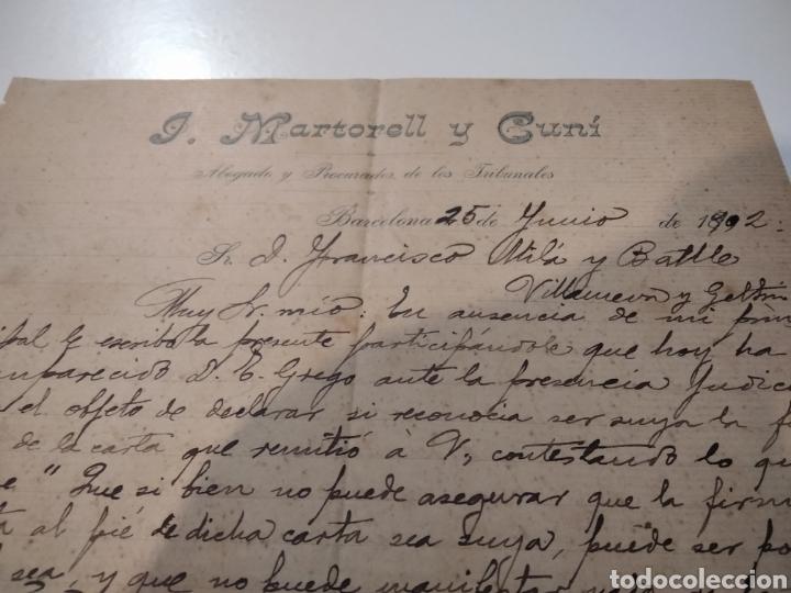 Cartas comerciales: José. Martorell y Cuni abogado y procurador de los tribunales Barcelona 1902 - Foto 2 - 210351312