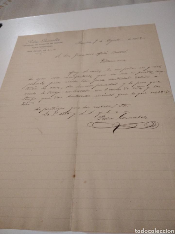 CARTA COMERCIAL PEDRO GONZÁLEZ VENDEDOR DE LINGOTES DE HIERRO PARA FUNDICIONES 1902 (Coleccionismo - Documentos - Cartas Comerciales)