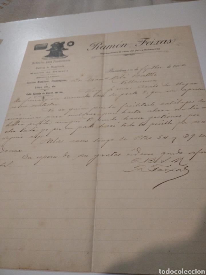 RAMÓN FEIXAS REPRESENTANTE DE CASAS DEL PAÍS Y EXTRANJERAS 1902 (Coleccionismo - Documentos - Cartas Comerciales)