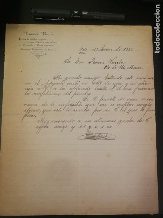 Cartas comerciales: Carta de Fernando Buada a Ramón Varela (1928) con reverso carta mercantil anunciadora - Foto 2 - 210353231