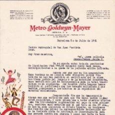 Cartas comerciales: METRO GOLDWYN MAYER CARTA CINE AVENIDA REUS TARRAGONA 1951 CARTA. Lote 210957326