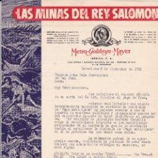 Cartas comerciales: CARTA METRO GOLDWYN MAYER BARCELONA A REUS 1951 LAS MINAS DEL REY SALOMON. Lote 210957567