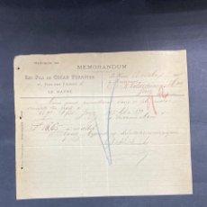 Cartas comerciales: MEMORANDUM. LES FILS DE OSCAR FOERSTER. LE HAVRE-FRANCIA, 1902. PARA A.R. VALDESPINO, JEREZ.. Lote 211758131