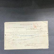 Cartas comerciales: MEMORANDUM. LES FILS DE OSCAR FOERSTER. LE HAVRE-FRANCIA, 1902. PARA A.R. VALDESPINO, JEREZ.. Lote 211758185