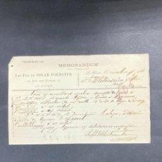 Cartas comerciales: MEMORANDUM. LES FILS DE OSCAR FOERSTER. LE HAVRE-FRANCIA, 1902. PARA A.R. VALDESPINO, JEREZ.. Lote 211758278
