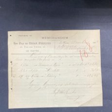 Cartas comerciales: MEMORANDUM. LES FILS DE OSCAR FOERSTER. LE HAVRE-FRANCIA, 1902. PARA A.R. VALDESPINO, JEREZ.. Lote 211758320