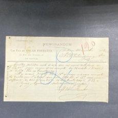 Cartas comerciales: MEMORANDUM. LES FILS DE OSCAR FOERSTER. LE HAVRE-FRANCIA, 1902. PARA A.R. VALDESPINO, JEREZ.. Lote 211758361