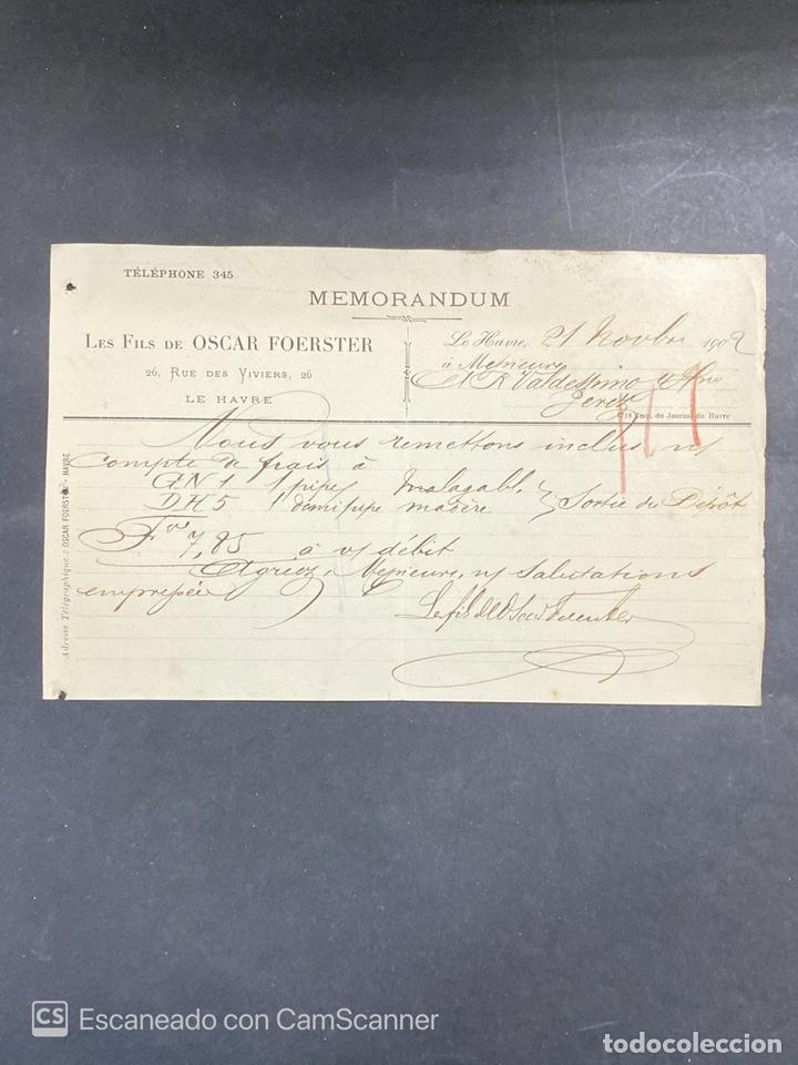 MEMORANDUM. LES FILS DE OSCAR FOERSTER. LE HAVRE-FRANCIA, 1902. PARA A.R. VALDESPINO, JEREZ. (Coleccionismo - Documentos - Cartas Comerciales)