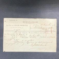 Cartas comerciales: MEMORANDUM. LES FILS DE OSCAR FOERSTER. LE HAVRE-FRANCIA, 1902. PARA A.R. VALDESPINO, JEREZ.. Lote 211758386
