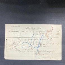 Cartas comerciales: MEMORANDUM. LES FILS DE OSCAR FOERSTER. LE HAVRE-FRANCIA, 1902. PARA A.R. VALDESPINO, JEREZ.. Lote 211758531