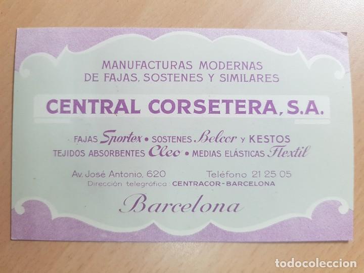 ANTIGUA TARJETA COMERCIAL FAJAS SOSTENES CENTRAL CORSETERA SPORTEX BELCOR BARCELONA (Coleccionismo - Documentos - Cartas Comerciales)