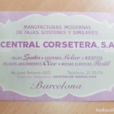 Cartas comerciales: ANTIGUA TARJETA COMERCIAL FAJAS SOSTENES CENTRAL CORSETERA SPORTEX BELCOR BARCELONA. Lote 211761405