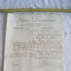 Cartas comerciales: JML DOCUMENTO LUIS ZACARINI AGENCIA ADUANAS DESPACHO DE BUQUES FLETAMIENTOS CONSIGNAS BARCELONA 1906. Lote 211846937