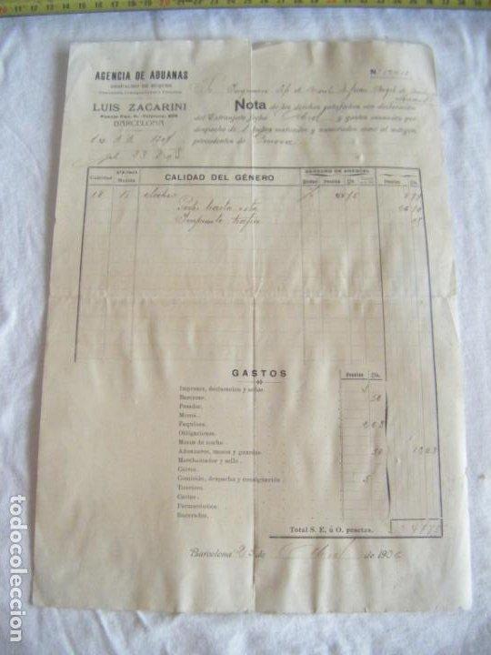 Cartas comerciales: JML DOCUMENTO LUIS FACARINO AGENCIA ADUANAS DESPACHO BUQUES INGENIERO MONTES GENOVA BARCELONA 1906 - Foto 2 - 211847326